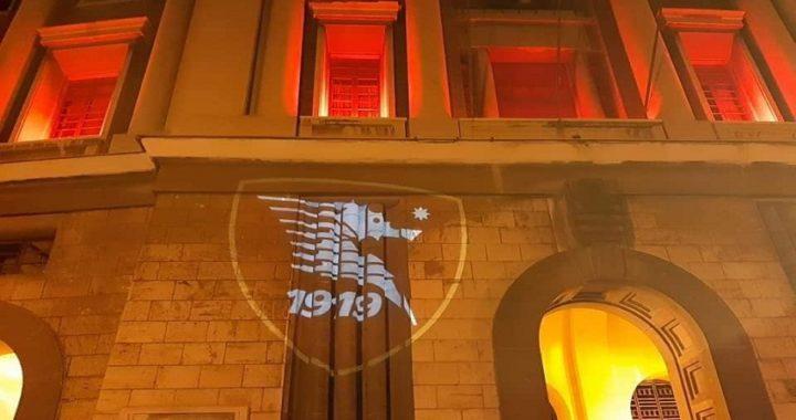 Compleanno Salernitana, anche Palazzo Guerra si colora di granata