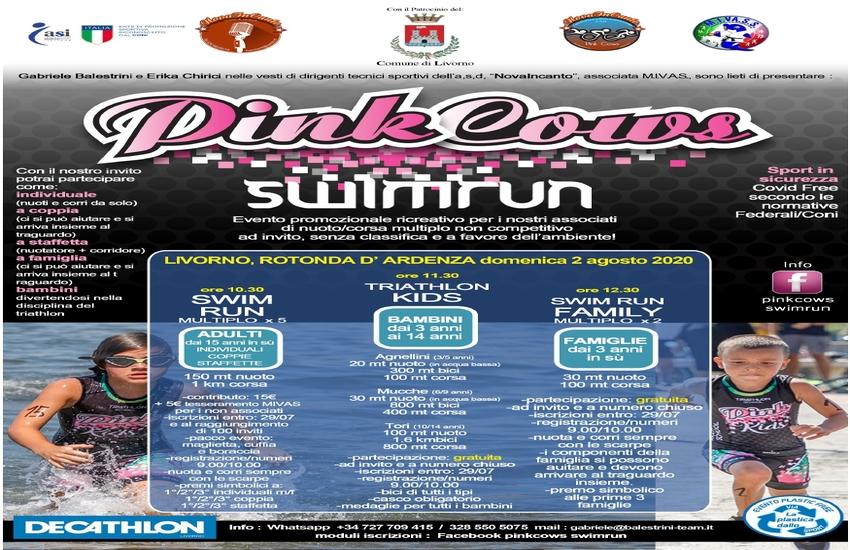 #PinkCowsSwimRun: torna l'evento sportivo di triathlon/Swim&run in sicurezza e amico dell'ambiente