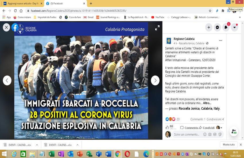 Migranti positivi a Roccella, Santelli scrive a Conte