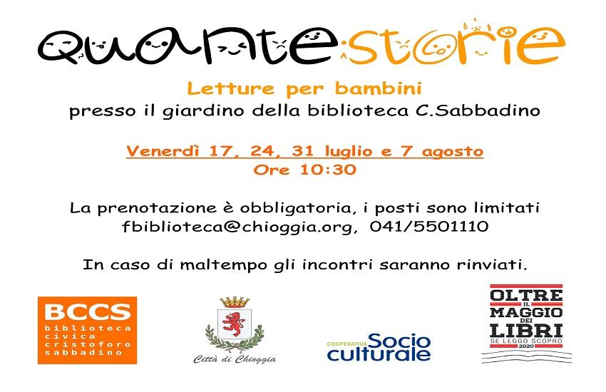 """Chioggia: I venerdì con """"Quante Storie"""", letture animate in biblioteca"""
