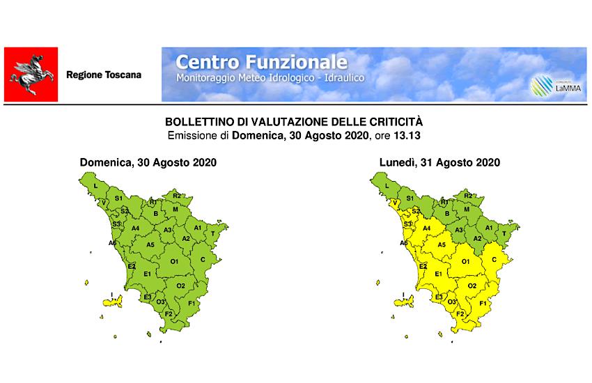 Avviso codice giallo per temporali, con rischio idrogeologico e idraulico dalle ore 10 alle ore 20 di lunedì 31 agosto