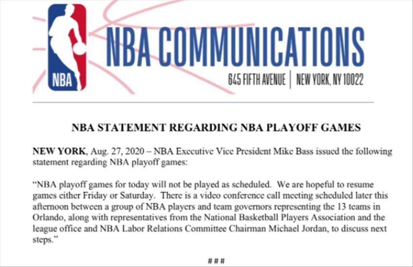 Black Lives Matter e caso Blake, l'NBA si ferma contro il razzismo. E Trump attacca