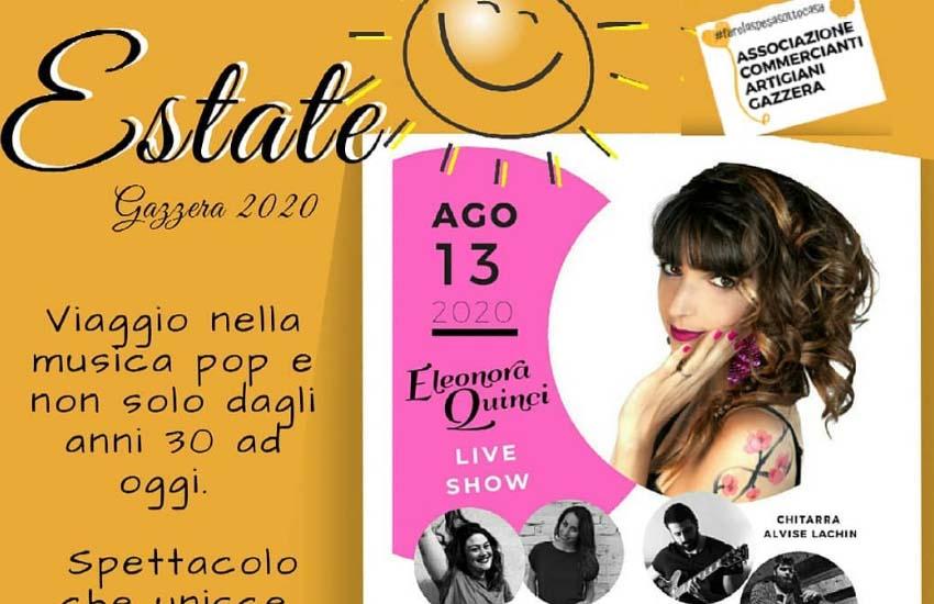 """""""Estate Gazzera 2020"""": domani sul palco di piazzetta Brendole l'Eleonora Quinci live show"""