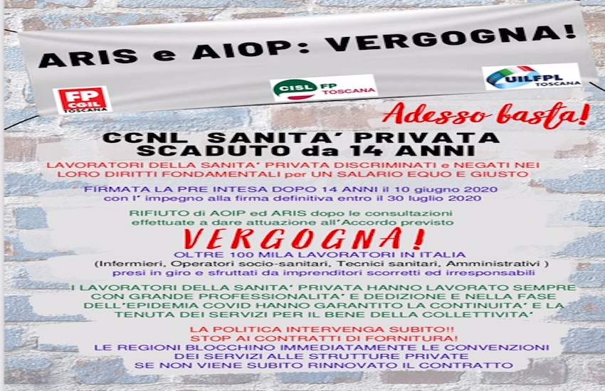 Mancato rinnovo del contratto nazionale sanità privata, in Toscana iniziative di protesta  nei capoluoghi