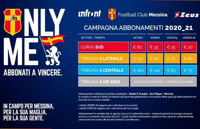 FC Messina, campagna abbonamenti fino al 17 settembre. Ecco costi, riduzioni e punti vendita