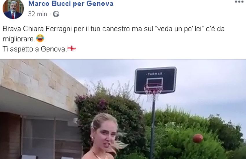 """Chiara Ferragni va a canestro e cita il genovesismo """"veda un po' lei"""" e il sindaco Bucci la invita a Genova"""
