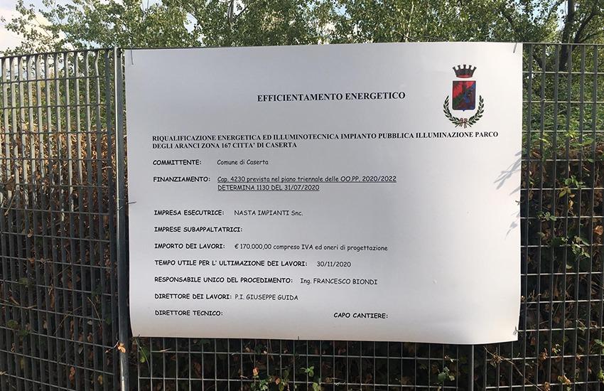 Al via la riqualificazione dell'illuminazione pubblica a Caserta. Ecco dove