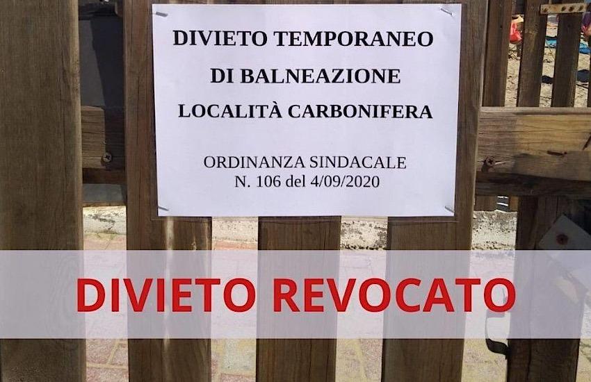 CARBONIFERA, REVOCATA L'ORDINANZA DI DIVIETO DI BALNEAZIONE