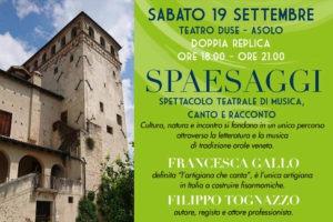 """Asolo, Fucina del Gusto 2020: spettacolo """"Spaesaggi"""" con Francesca Gallo e Filippo Tognazzo"""