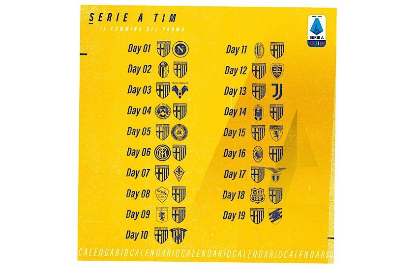 Parma Calcio, debutto col Napoli. La Juve a Natale, si chiude con la Sampdoria