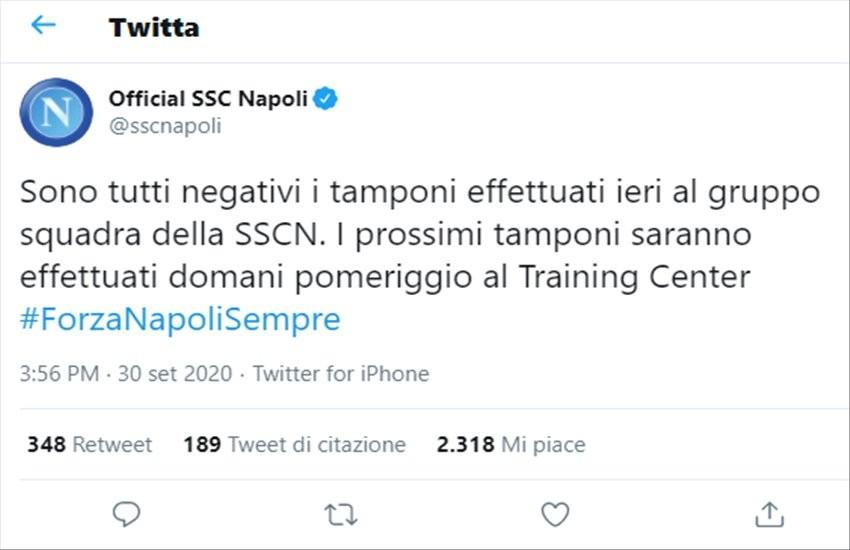 Il Napoli tira un sospiro di sollievo, nessun caso di covid-19 tra i giocatori azzurri