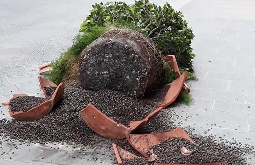 Banda di minorenni distrugge 2 fioriere in via Tornabuoni. In un anno distrutti altri 12 vasi: danni per 10mila euro