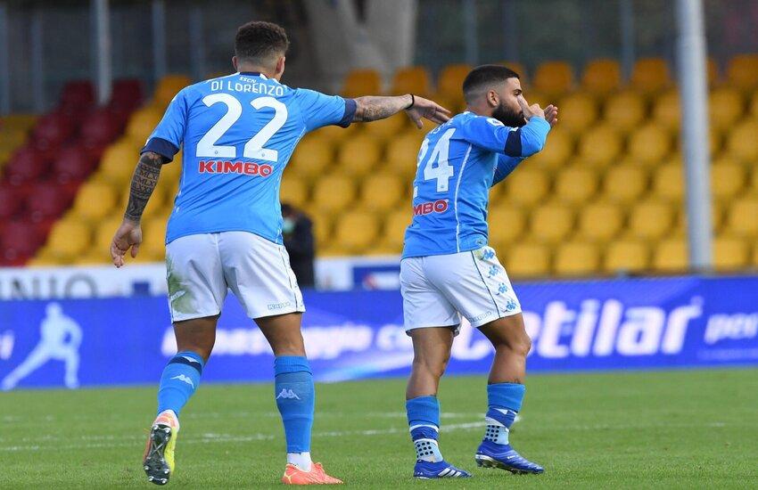 Benevento-Napoli 1-2. Entrambi gli Insigne a segno, ma è Lorenzo a sorridere