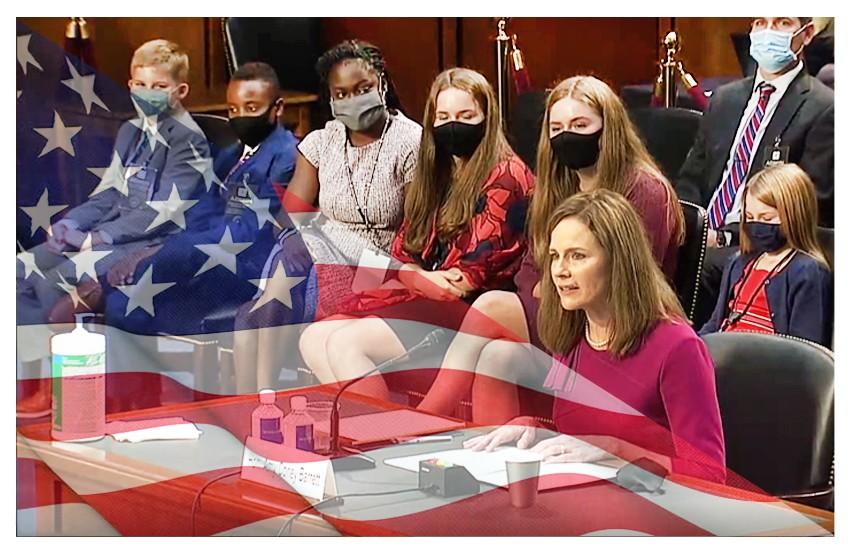 Amy Coney Barrett. Un giorno al Senato, con famiglia e strategia