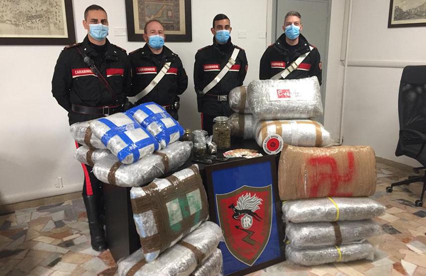 Sequestrati 80 chili  di marijuana, valore 750mila euro. Denunciati due fiorentini di 28 anni