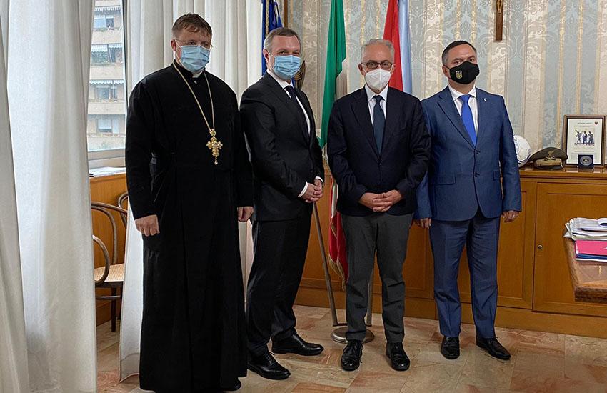 L'ambasciatore dell'Ucraina in Italia incontra il sindaco Marino e padre Igor Danylchuk