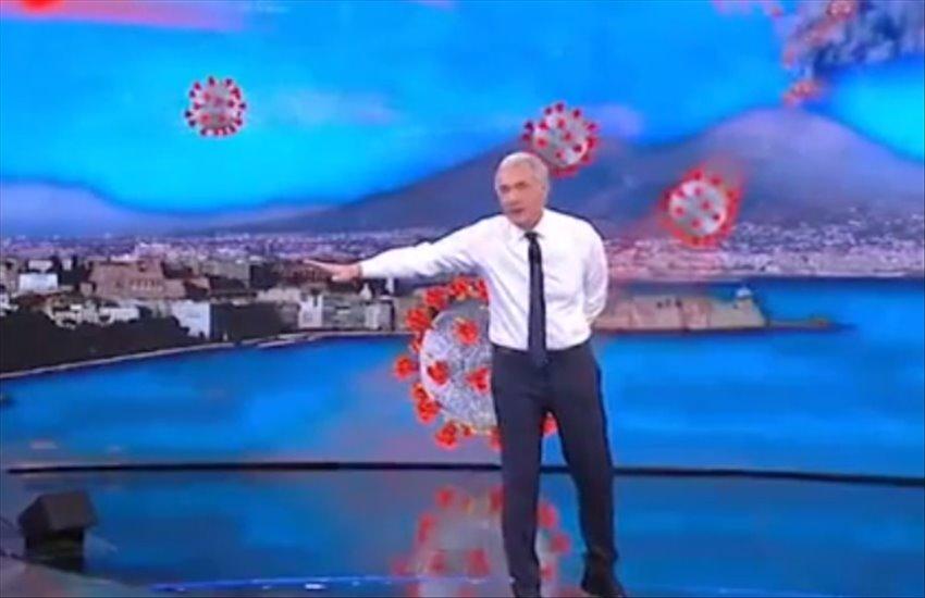 Giletti nella bufera, sotto accusa l'immagine del Vesuvio che erutta Covid
