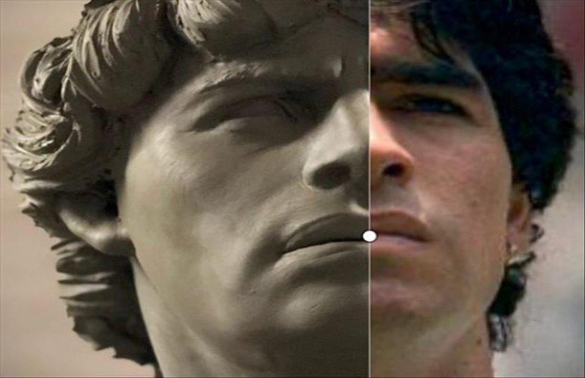 Maradona diventa un Dio greco, l'omaggio dello scultore Domenico Sepe
