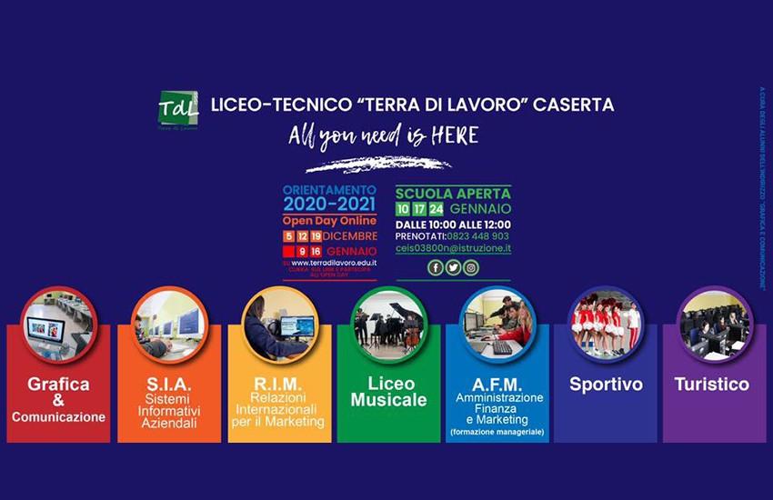 Il 19 continuano gli Open Day a distanza all'Istituto Terra di Lavoro di Caserta
