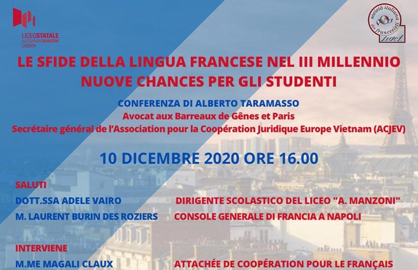 Le sfide della lingua francese nel III millennio al Liceo Manzoni di Caserta, giovedì 10