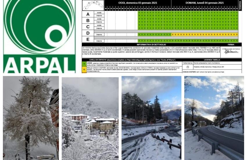 Liguria, maltempo: dalla mezzanotte del 4 gennaio allerta gialla per neve in valle Stura e Valbormida