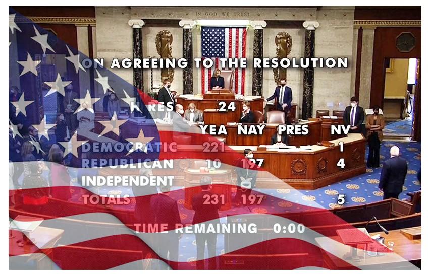 La Camera dei Rappresentanti vota il secondo impeachment per Trump