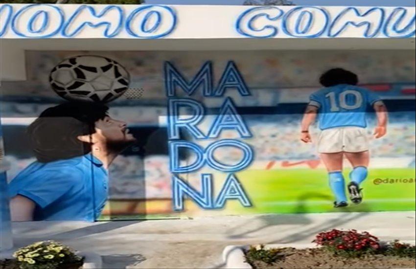 Bacoli, realizzati 10 murales alla Villa Comunale dedicati a Diego Armando Maradona