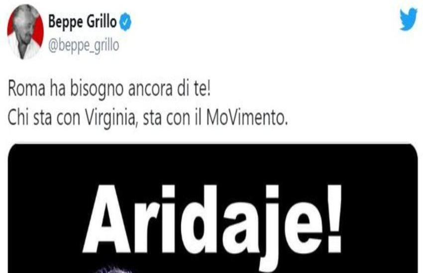 """Grillo: """"Chi sta con Virginia, sta con il MoVimento"""""""