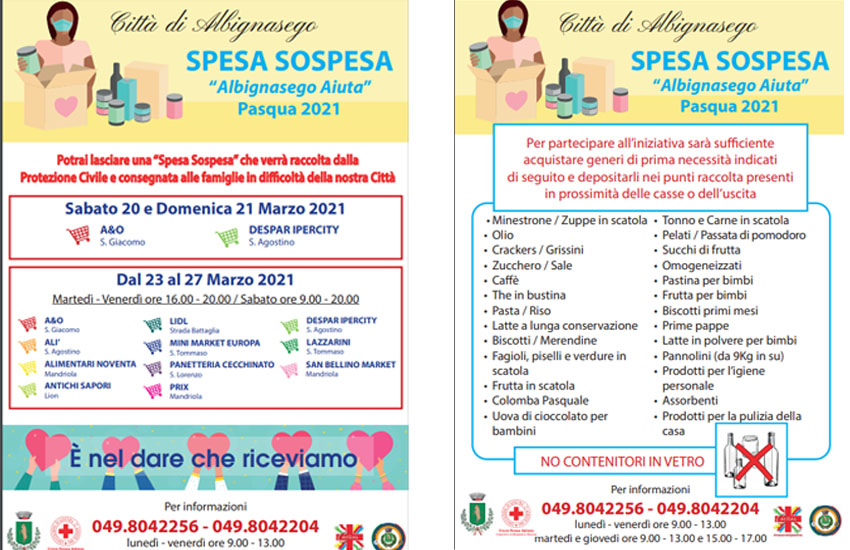 Albignasego, dal 20 al 27 marzo raccolta di generi di prima necessità per le famiglie in difficoltà