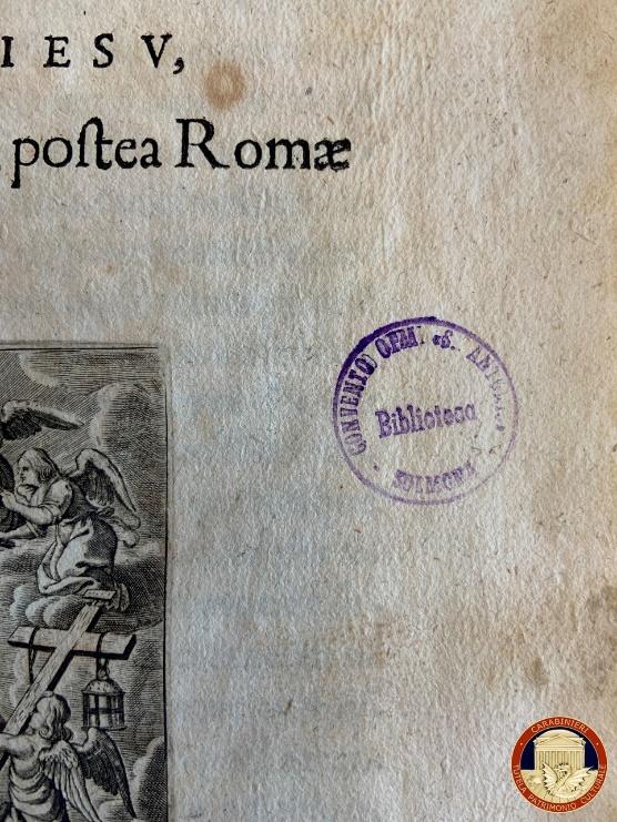 Biblioteca del convento di San Giuliano: Carabinieri restituiscono libro del 1661