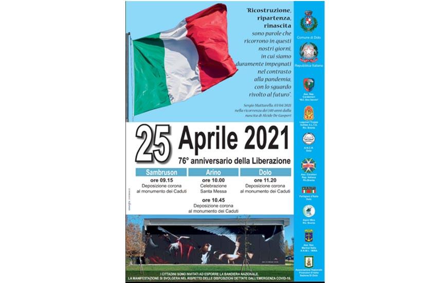 25 aprile 2021. 76° anniversario della Liberazione. Iniziative a Dolo per non dimenticare