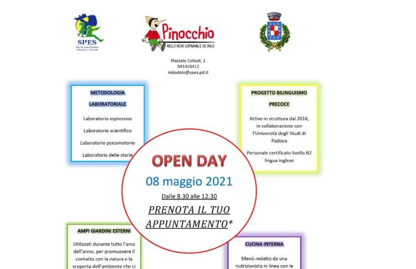 """Prenotazioni aperte per partecipare all'""""Open day"""" all'asilo nido comunale 'Pinocchio' di Dolo sabato 8 maggio 2021"""