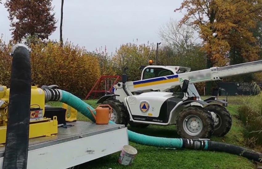 Montebelluna, Protezione civile: prova tecnica con le motopompe