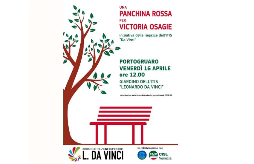 Portogruaro, una panchina rossa per ricordare Victoria Osagie, vittima di femminicidio