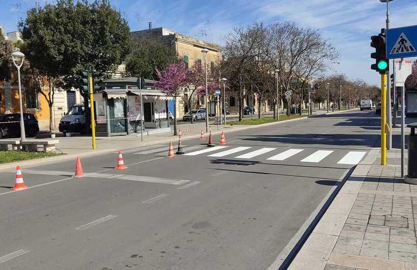 Attraversamenti pedonali, cominciati i lavori sui viali di Lecce
