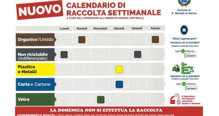 La raccolta differenziata a San Michele di Serino, lunedì 5 aprile si svolgerà regolarmente