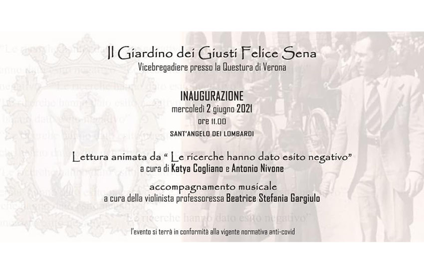 Sant'Angelo dei Lombardi inaugura il Giardino dei Giusti Felice Sena, mercoledì 2 giugno