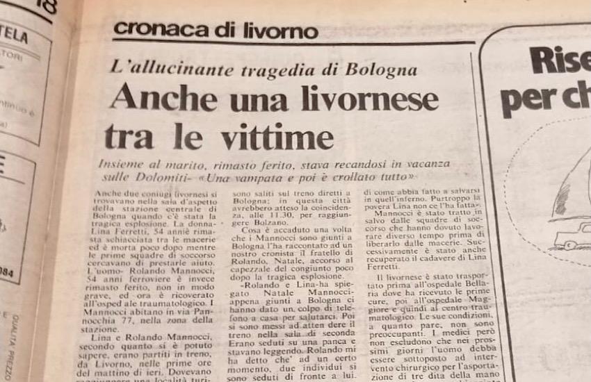 L'Amministrazione comunale ricorda le vittime livornesi della strage di Bologna