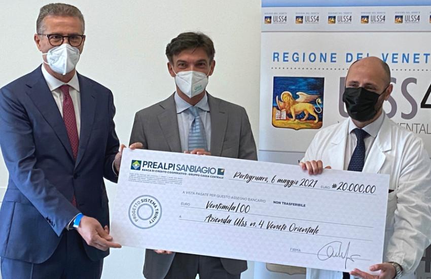 PORTOGRUARO, BANCA PREALPI SAN BIAGIO DONA 20 MILA EURO, ULSS4 ATTIVA UN SISTEMA DI ULTIMISSIMA GENERAZIONE PER LA DIAGNOSI DEL TUMORE ALLA PROSTATA