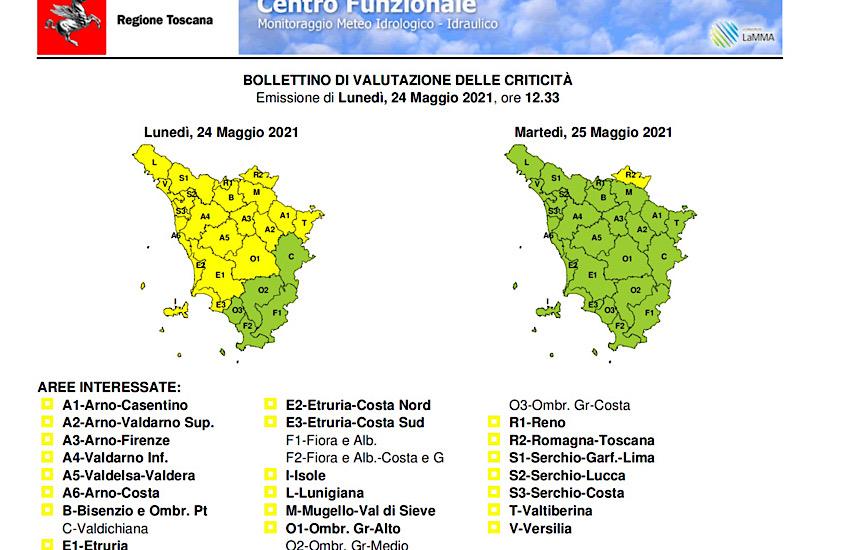 Lunedì 24 maggio codice giallo per forti temporali con rischio idrogeologico e idraulico del reticolo minore