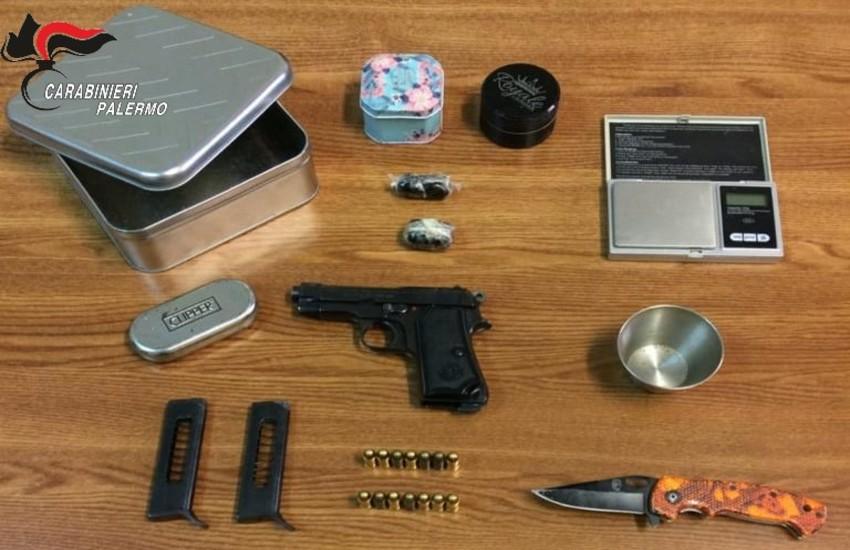 Palermo – Pistola e hashish detenuti illegalmente, arrestato dai Carabinieri