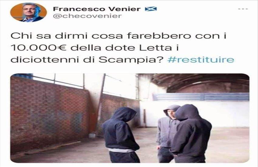 """Bufera dopo la vergognosa frase di un professore di Trieste: """"Che ne farebbero i 18enni di Scampia con i 10.000 euro della dote Letta""""?"""