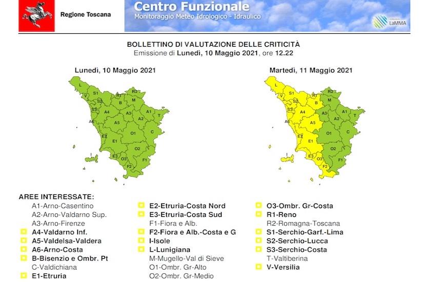 Martedì 11 maggio codice giallo per forti temporali con rischio idrogeologico e idraulico