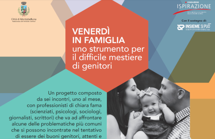 """Montebelluna, al via la 2° edizione dei """"Venerdì in Famiglia"""", sei incontri per sostenere famiglia, cuore della comunità"""