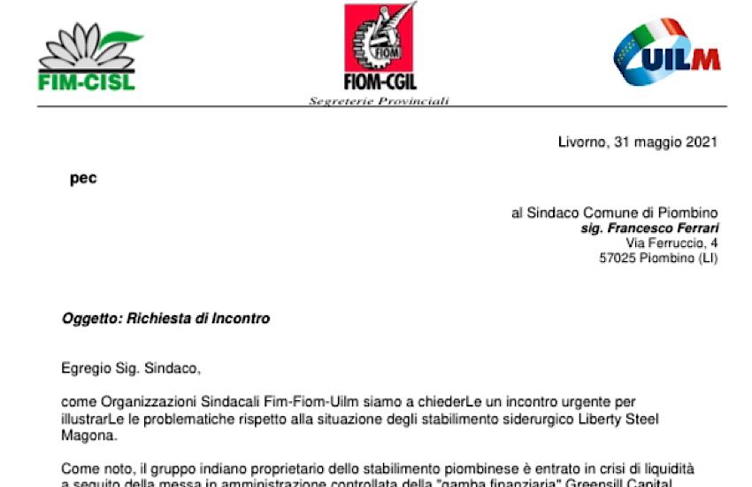 Lettera richiesta di incontro al sindaco di Piombino