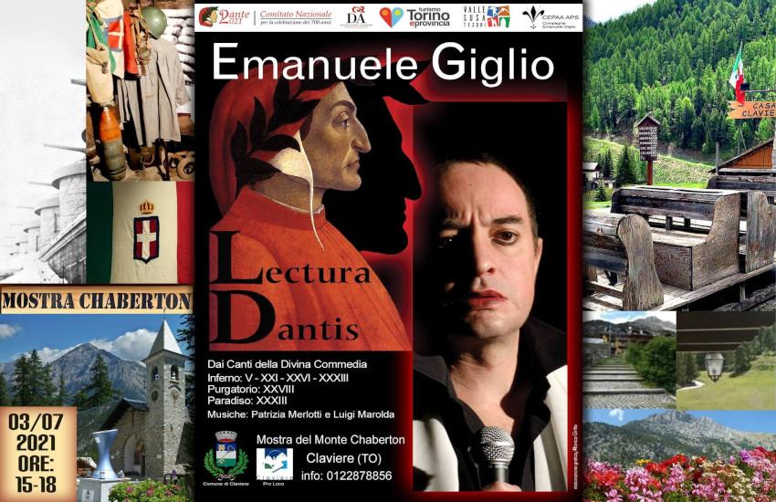 """Claviere, il 3 luglio Emanuele Giglio in """"Lectura Dantis"""" alla mostra dello Chaberton"""