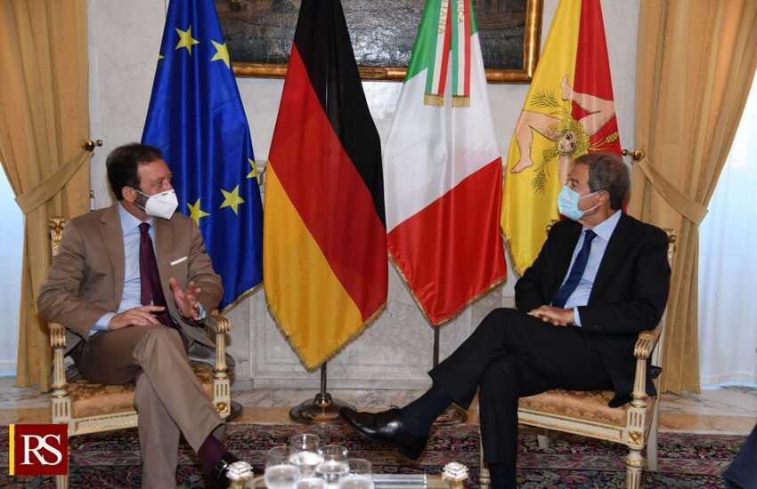Palazzo D'Orleans – Musumeci riceve l'ambasciatore tedesco in Italia