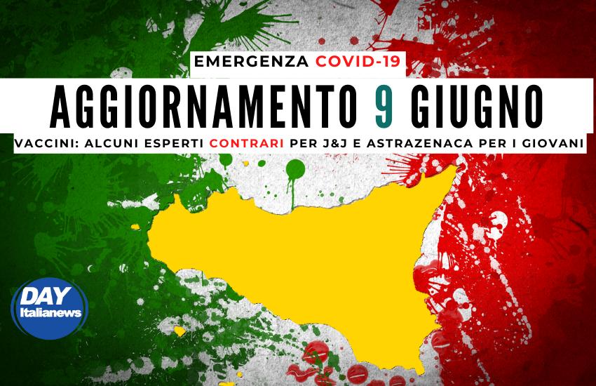Covid 9 giugno, Sicilia seconda in Italia per nuovi casi. Vaccini, alcuni esperti contrari ad AstraZeneca e J&J per i giovani