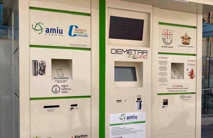 Genova, presentato oggi il nuovo ecocompattatore AMIU si potranno conferire anche le lattine in alluminio