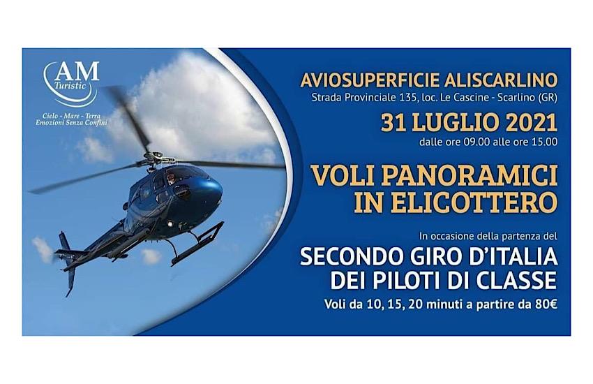 """Voli in elicottero con AM Turistic: il 31 luglio in occasione del secondo giro d'Italia dei """"Piloti di Classe"""""""